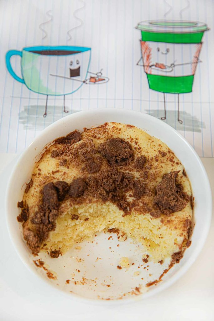 Microwave Coffee Cake with bites taken out
