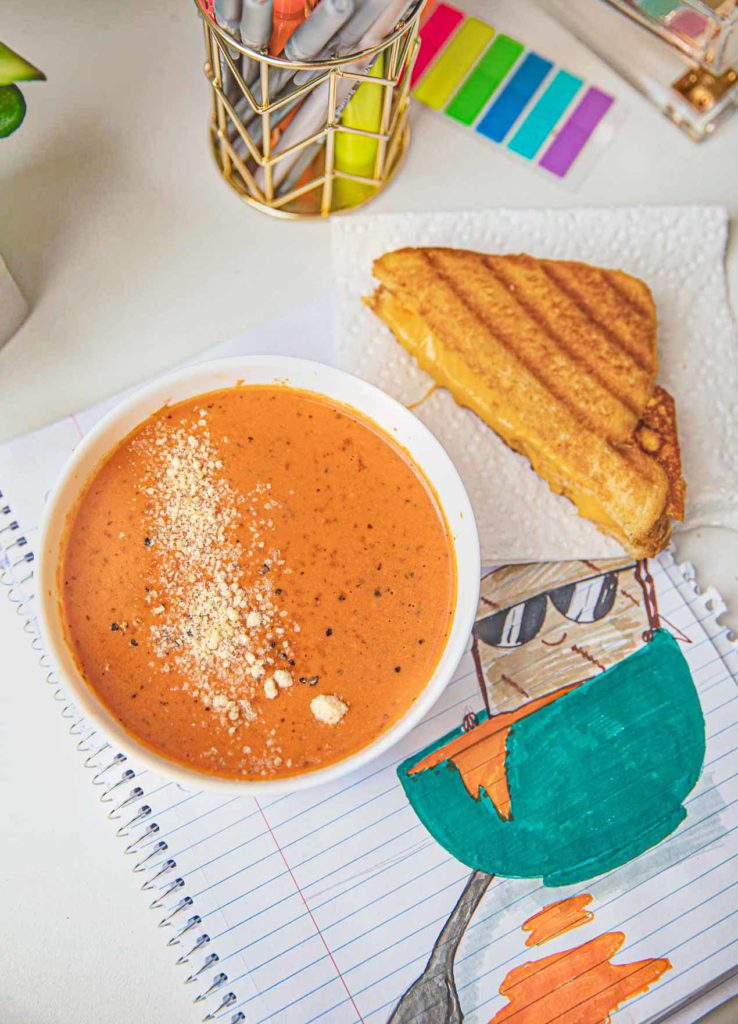 Creamy Tomato Soup with a grilled cheese sandwich