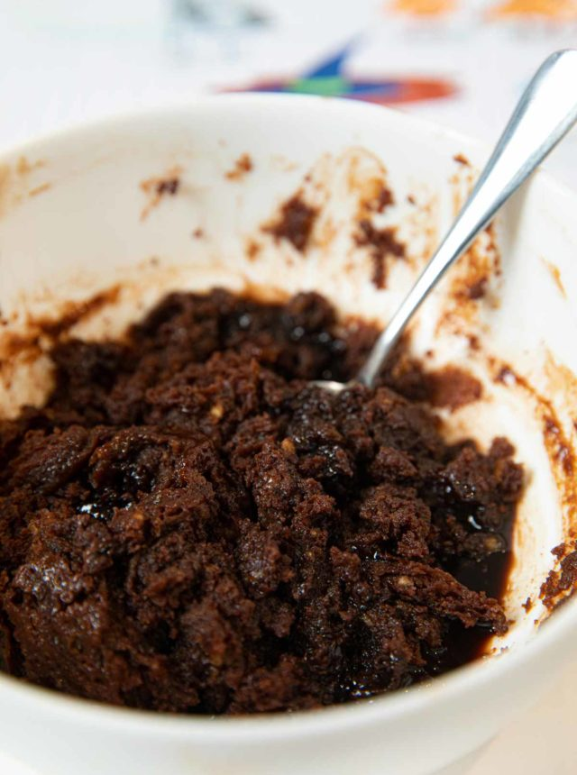 Microwave Chocolate Melting Cake in white cereal bowl