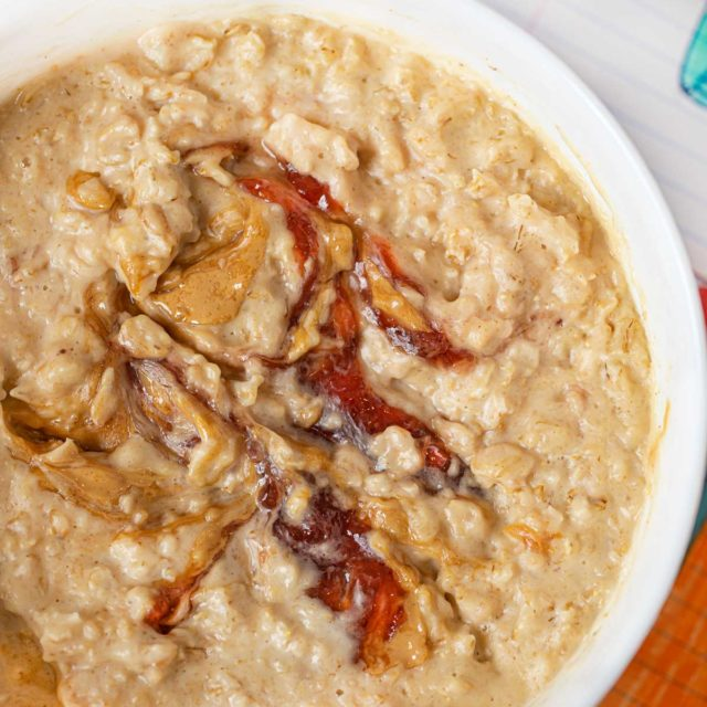 Microwave Peanut Butter and Jelly Oatmeal