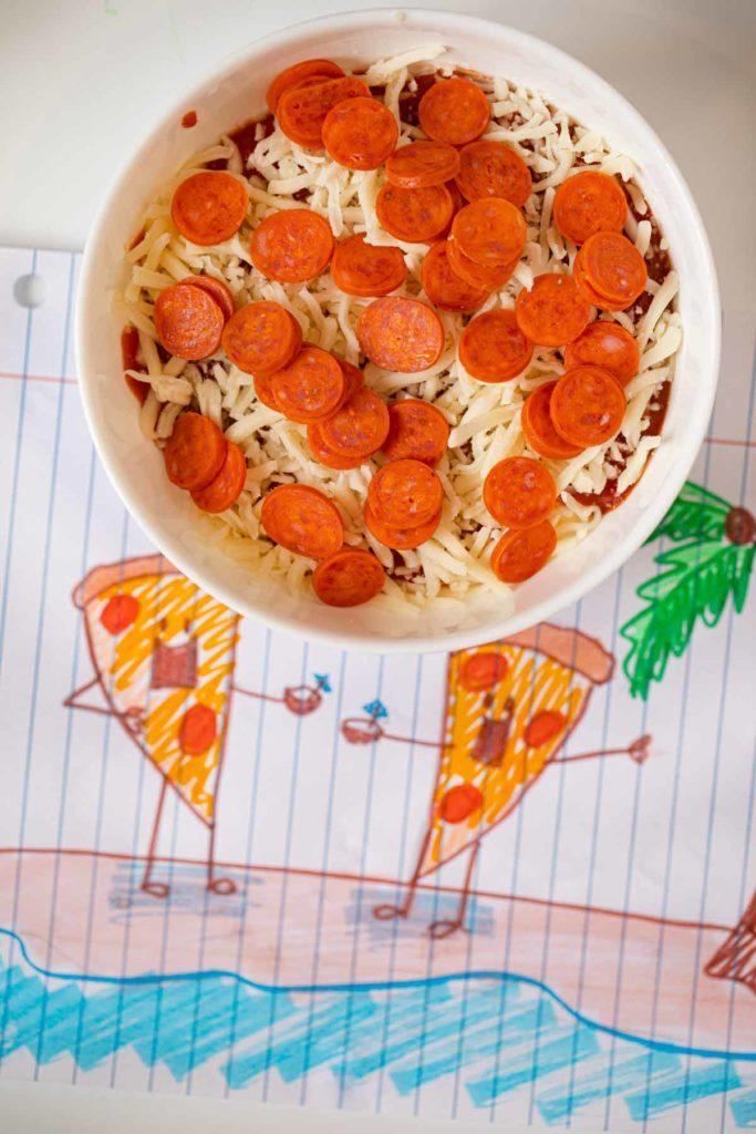 Pepperoni Pizza Dip before microwaving