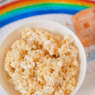 Microwave Rice Krispies Treat in cereal bowl