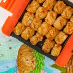 Crispy Microwave Tater Tots on tray
