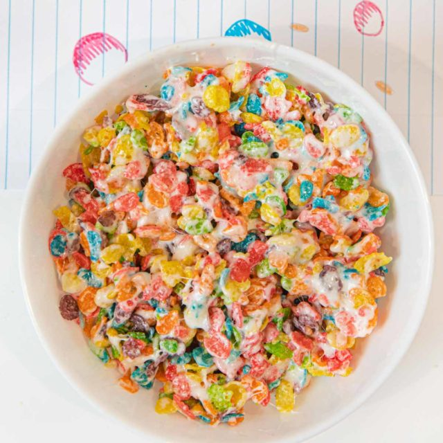 Fruity Pebbles Krispies Treats in bowl