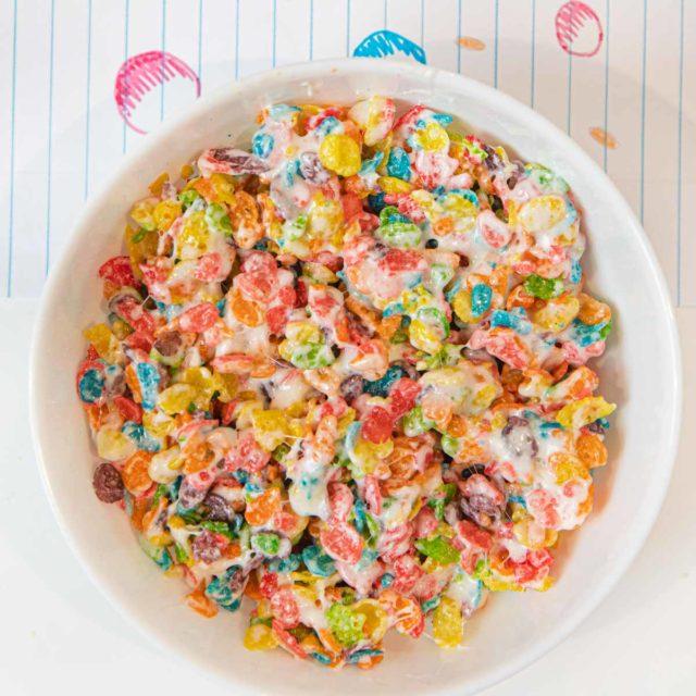 Fruity Pebbles Krispies Treats in bowl