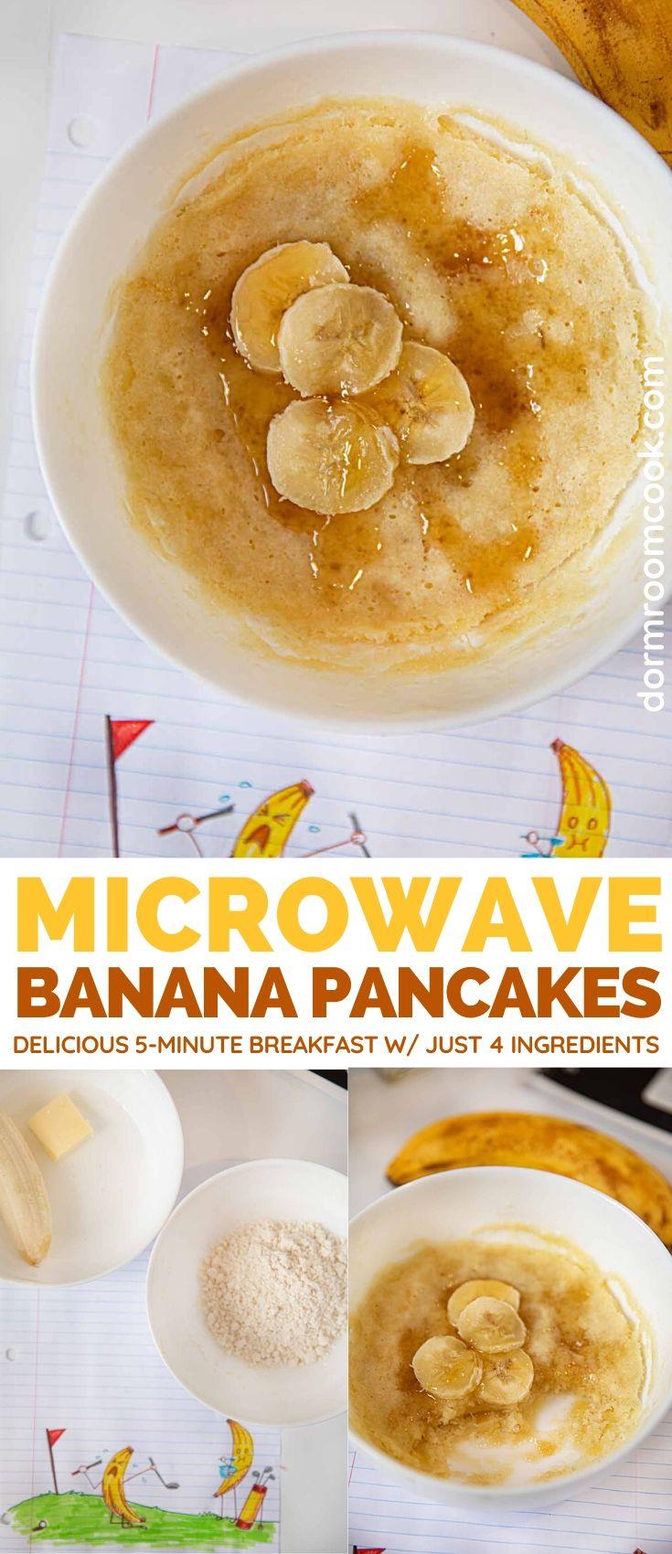 Easy Microwave Banana Pancakes collage