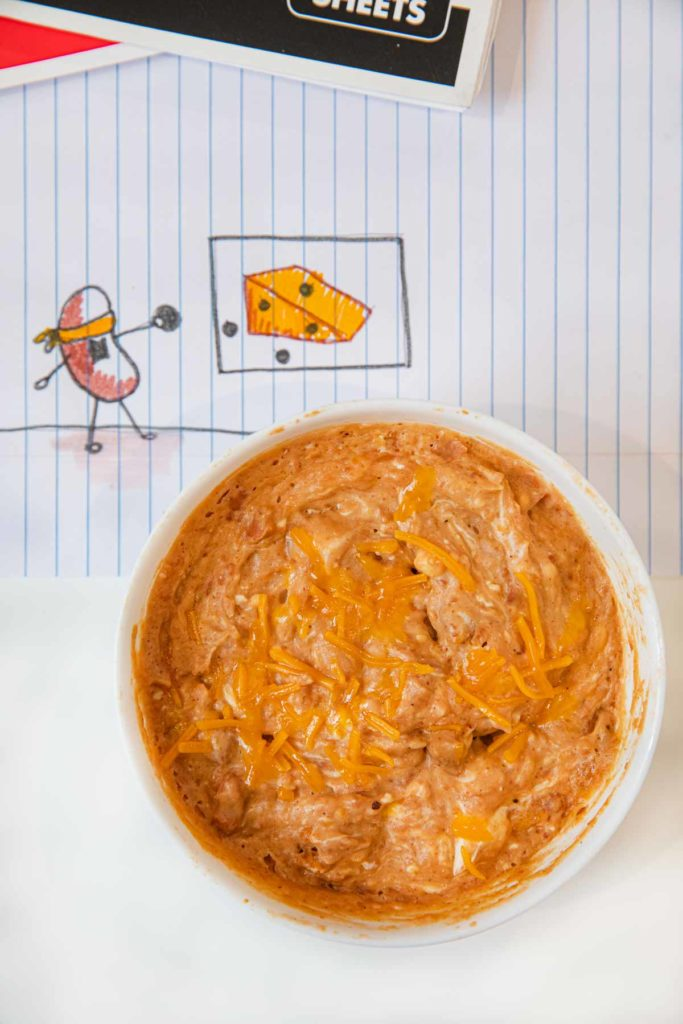 Microwave Cheesy Bean Dip in cereal bowl
