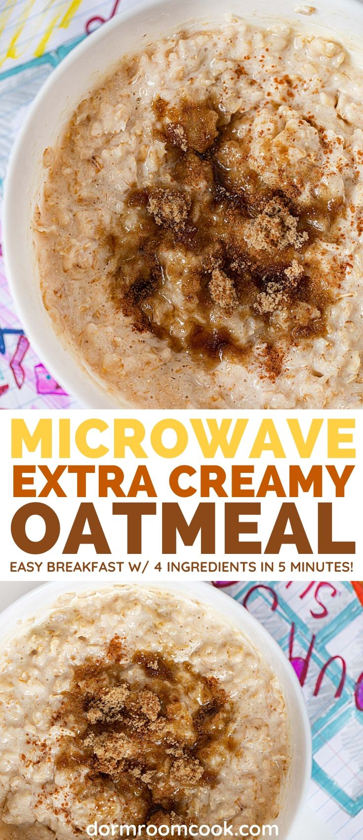 Easy Creamy Microwave Oatmeal collage