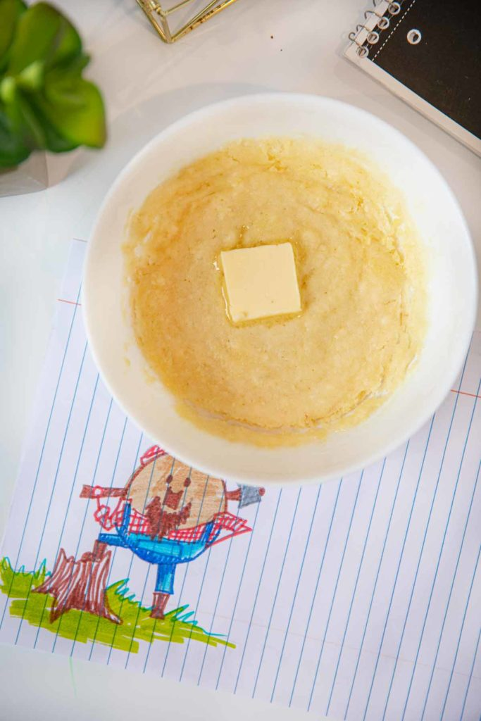 Microwave Pancake in cereal bowl