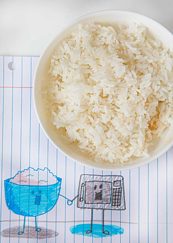 Microwave Steamed Rice in cereal bowl