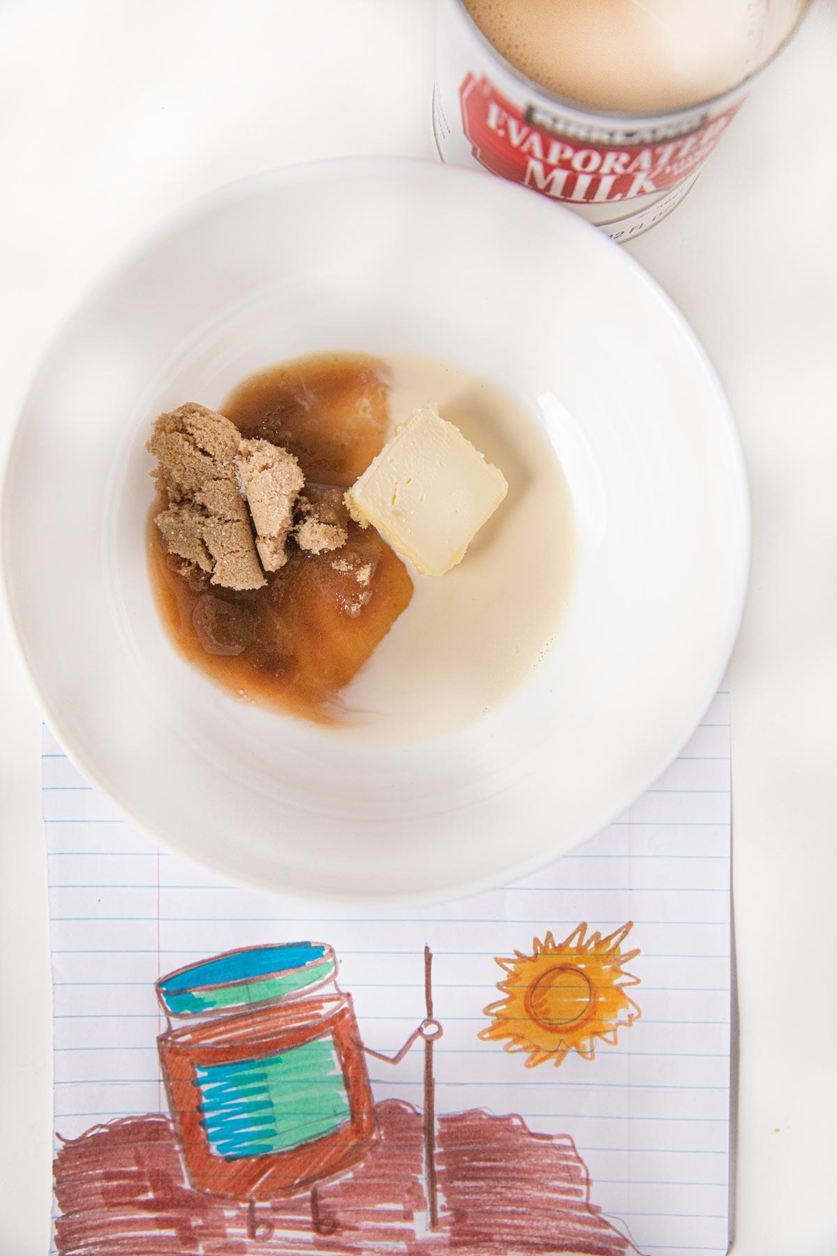 Microwave Caramel Sauce ingredients in bowl