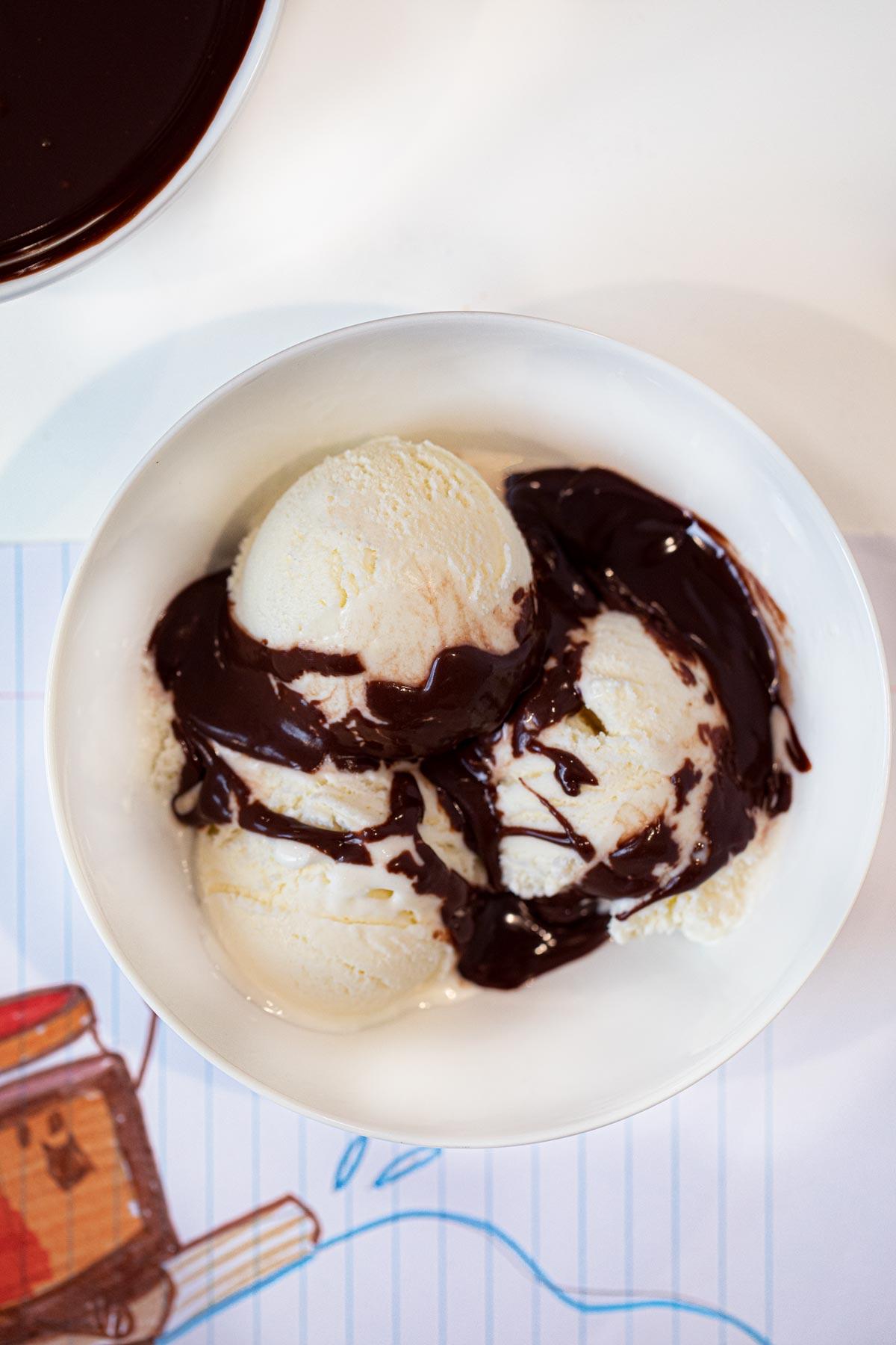 Microwave Chocolate Sauce on ice cream in bowl