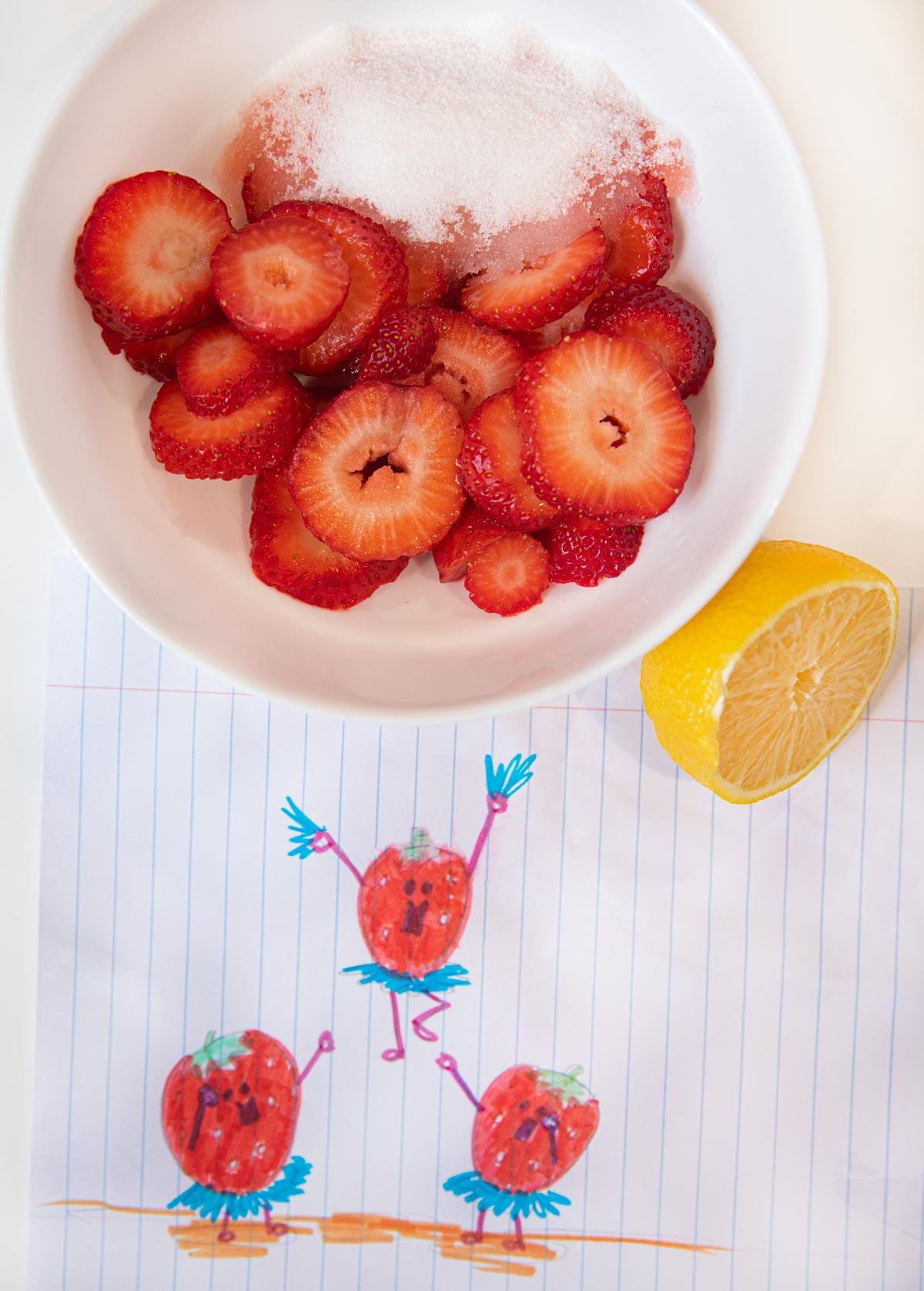 Microwave Strawberry Jam ingredients in bowl
